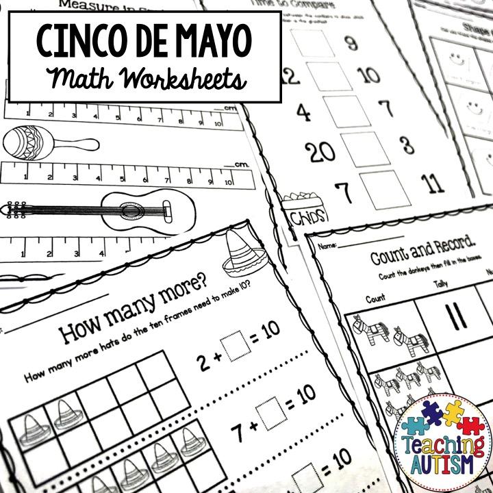 Cinco De Mayo Math Worksheets, No Prep - Teaching Autism