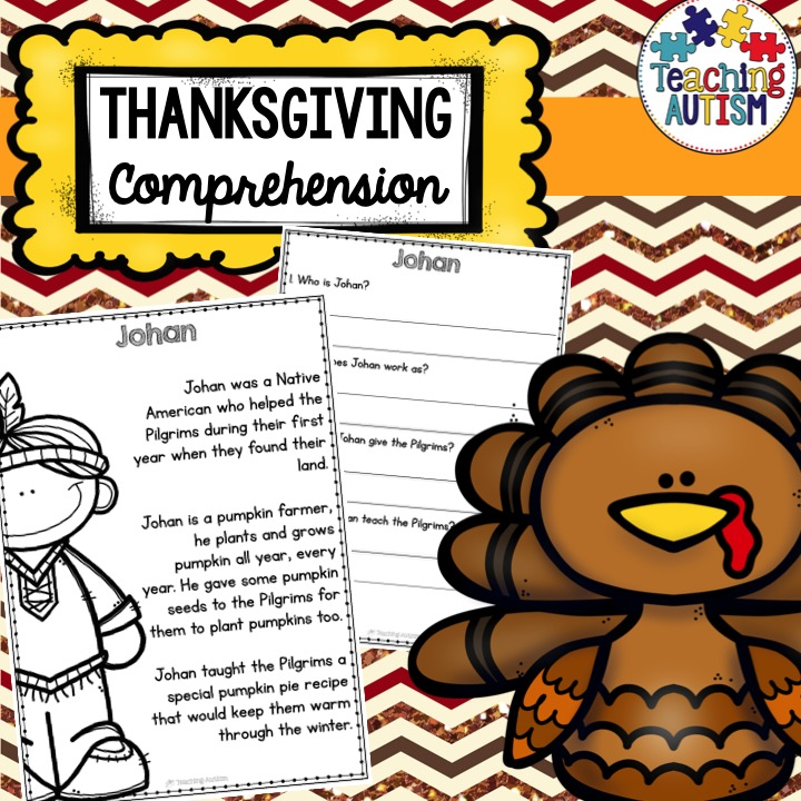Thanksgiving Reading Comprehension Worksheets - Teaching Autism